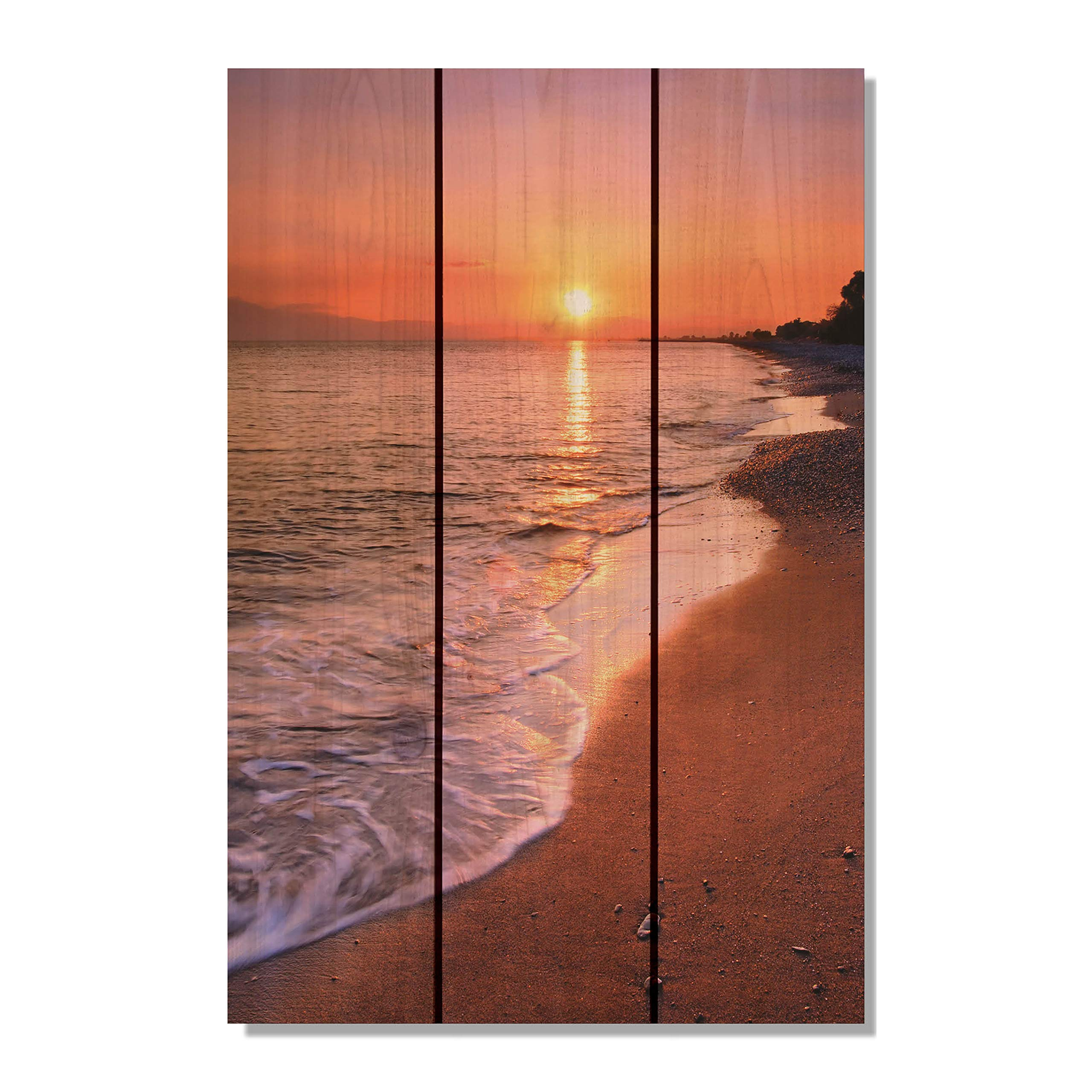 Gizaun Art SUB1624 Sunset Beach 16-Inch by 24-Inch Wall Art, Inside/Outside, Full Color Cedar