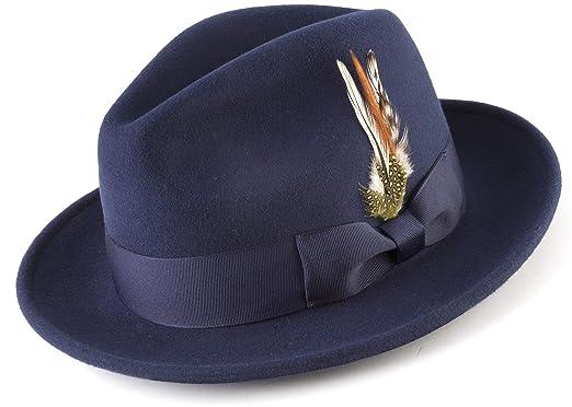 b80a52f5 MONTIQUE Long Lasting Lightfelt 2 ½ Inch Wide Brim Wool Felt Dress Hat for Men  H