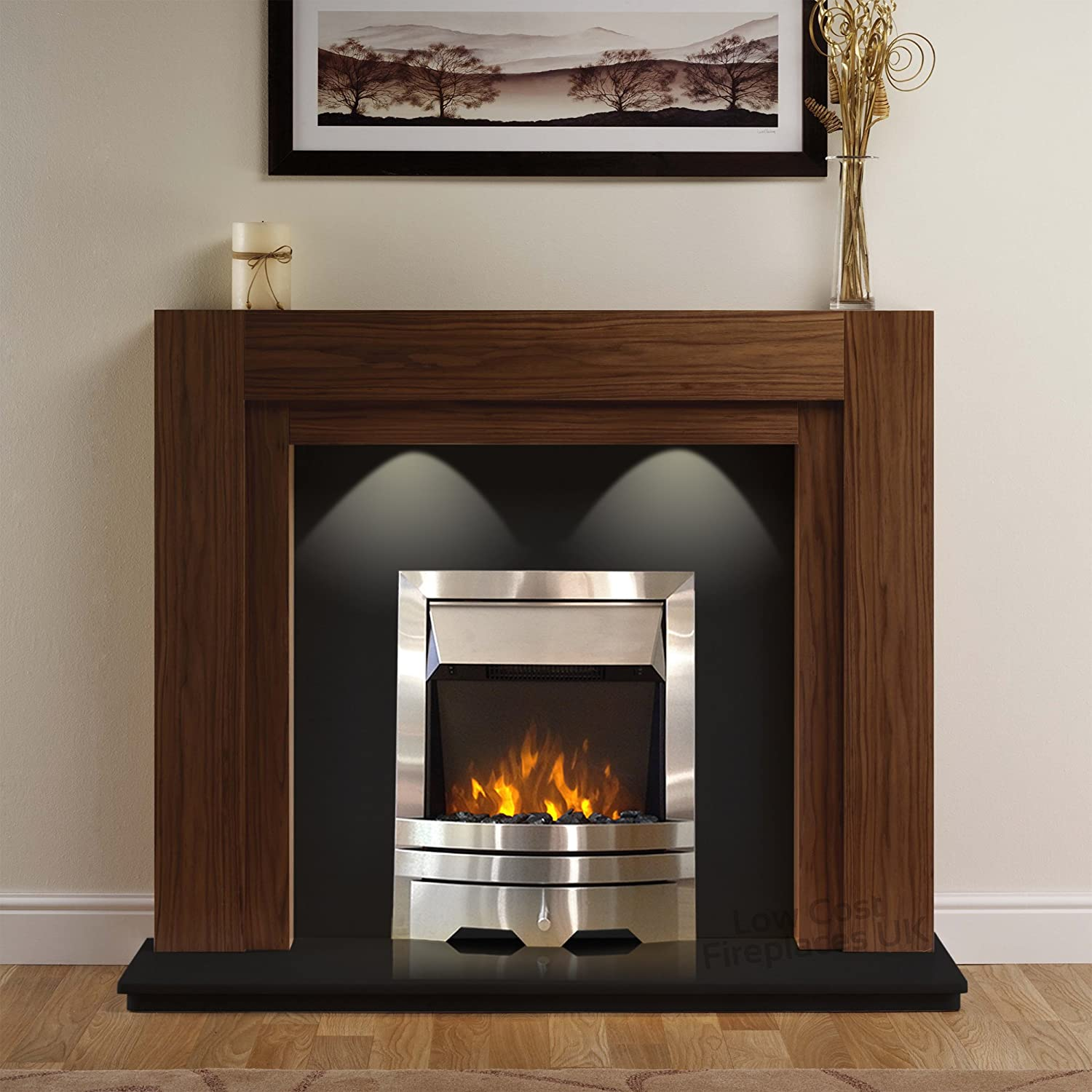 electric american walnut mantel surround black modern wall silver