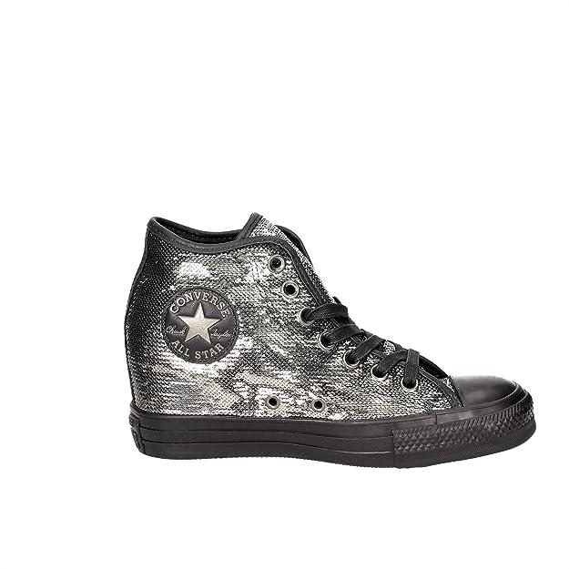 52963e72d Zapatos de Mujer CONVERSE Chuck Taylor Lux Mid con Lentejuelas Negras y cuña  559048C  Amazon.es  Zapatos y complementos