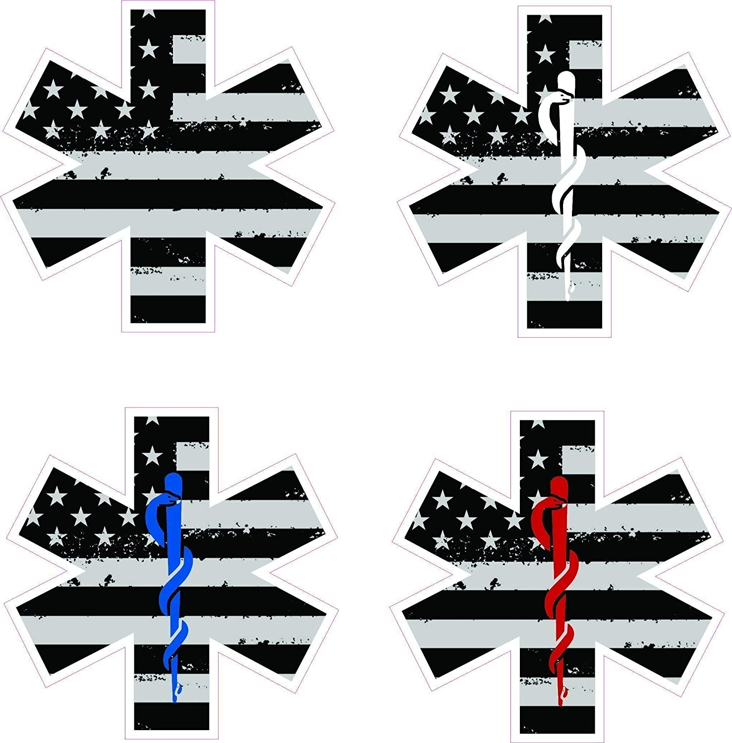 Star of life w/rod of Asclepius decal with tattered/distressed black and white American flag- Medical EMS EMT Paramedic Medics sticker 81APwjidHtL