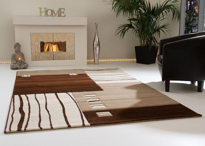 Designer Teppich Modern Ancona Felder Design in Beige Kurzflor, Größe  240x340 cm