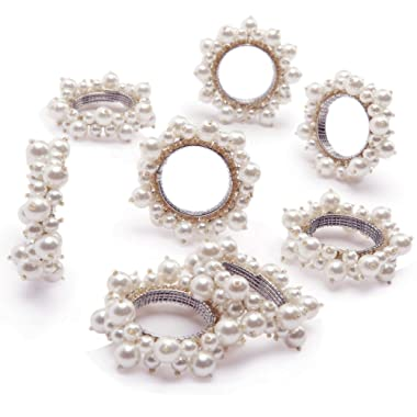 QUEENSHOW Handmade Pearl Napkin Rings Set with Solid White Stainless Steel Metal Rings, 8 pics