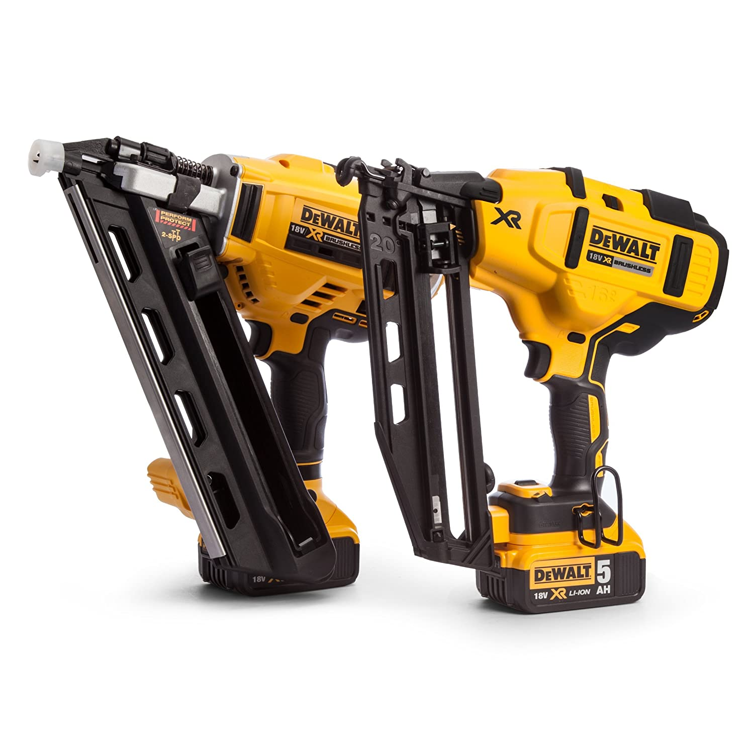DEWALT DCK264P2-18V-XR Cordless Li-Ion Brushless Nailer Twin Pack in ...
