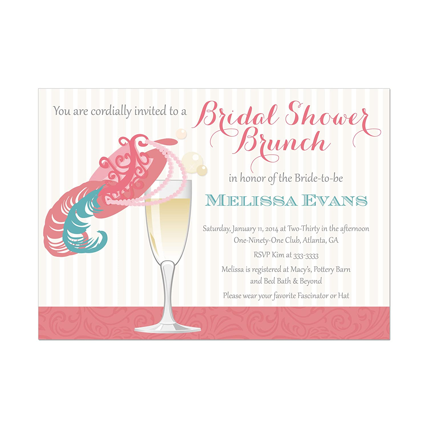 amazoncom bridal shower brunch invitation with hat and champagne glass base price if for a set of 10 invitations with white envelopes handmade
