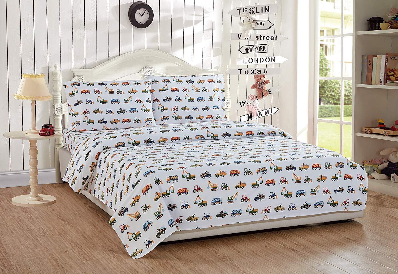 Elegant Home Multicolor Construction Site Equipment Trucks Tractors Design 7 Piece Comforter Bedding Set for Boys//Kids Bed in a Bag with Sheet Set # Construction Trucks Queen Size