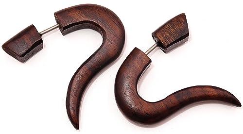 Falso dilatador de madera - piercing con diseño de espiral -color marrón, 1 par: Amazon.es: Joyería