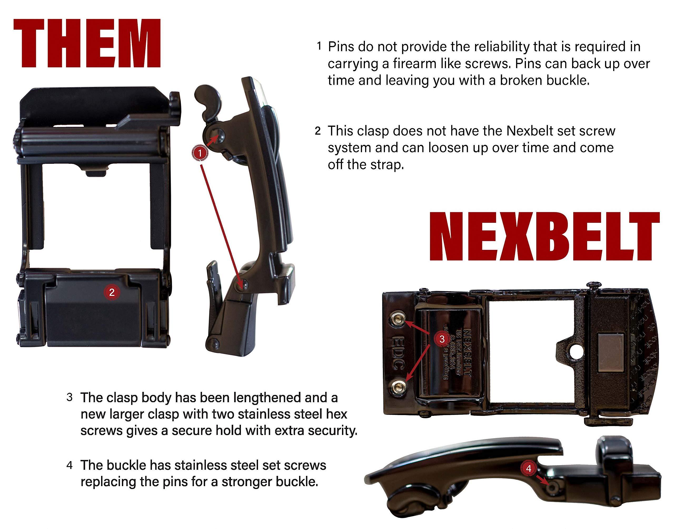 Nexbelt 2019 Titan Black Men's EDC Tactical Belt Ratchet System Technology Mens Nylon Gun Belts by Nexbelt (Image #5)