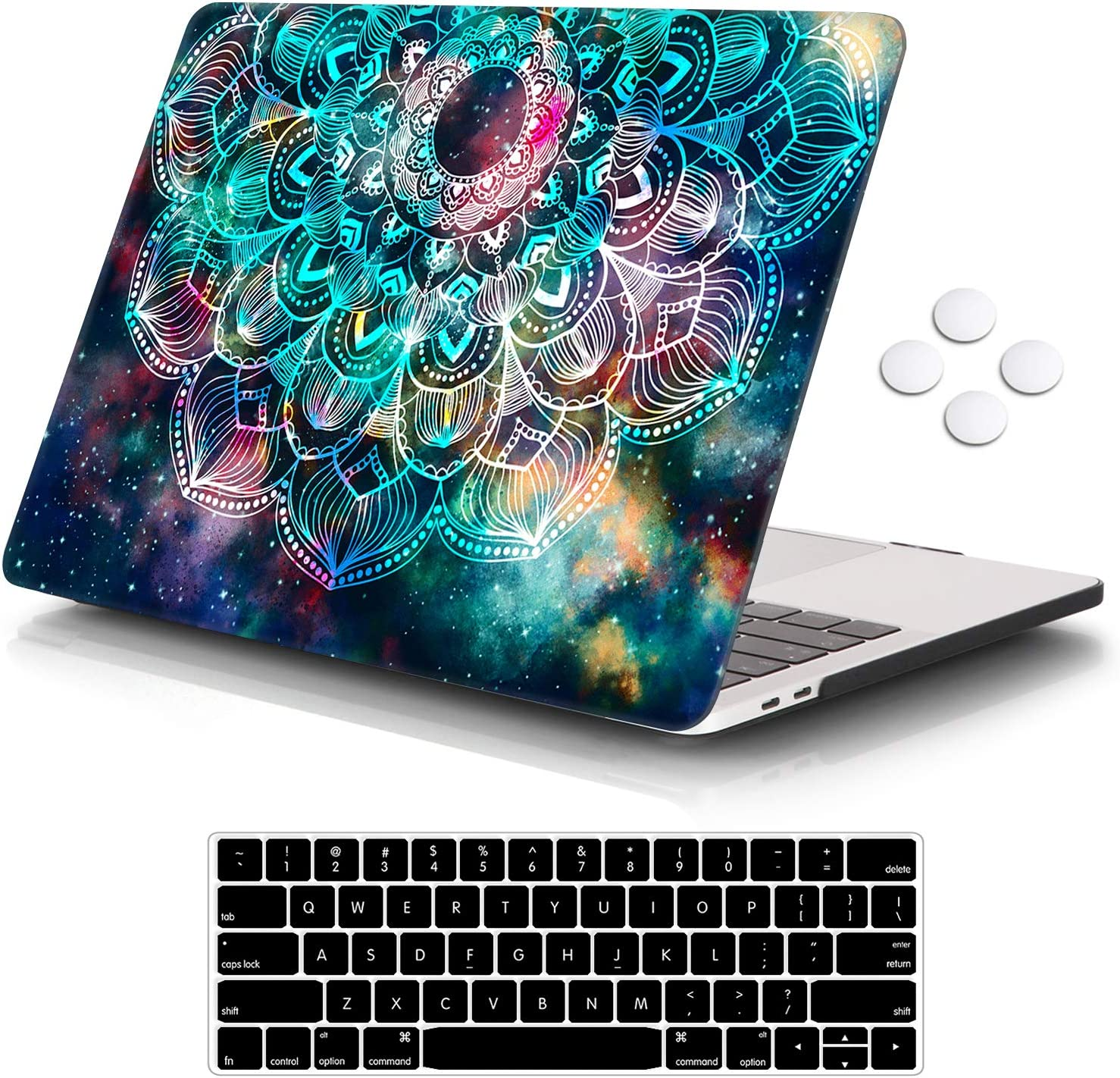 "iCasso MacBook Pro 13 inch Case 2019 2018 2017 2016 Release A2159/A1989/A1706/A1708, Plastic Hard Shell Case with 5 Rows Keyboard Cover Compatible with Newest MacBook Pro 13"" - Nebula Mandala"