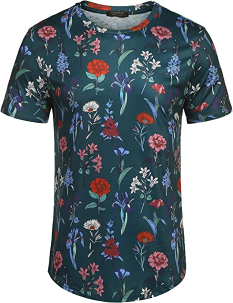 Mens Short-Sleeved Floral Printed Leisure and Fashion Shirt