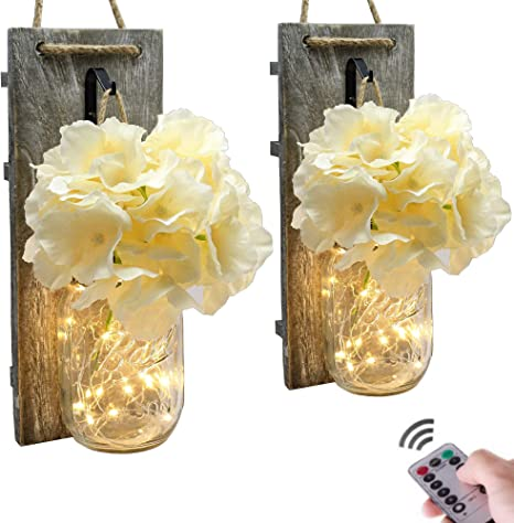 Silk Hydrangea and Home Kitchen Decoration (Set of 2) large Rustic Wall Sconces Living Decoration Set of 2 Rustic Home Decoration Wall Decor