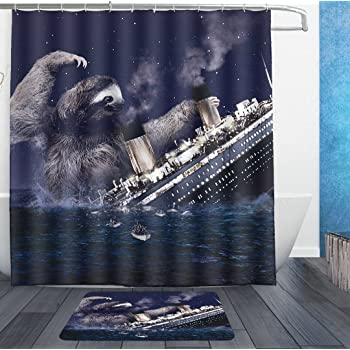 AMERICAN TANG Funny Sloth Nautical Slothzilla On Titanic Shower Curtain Liner With Hooks And Bath Rug Mat
