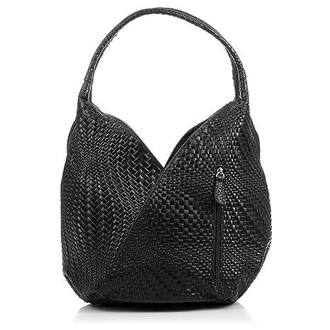 Bolso shopping bag de mujer piel auténtica.Bolso cuero genuino grabado con 7459609fb3cf