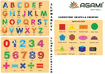 AGAMI Wooden Alphabets, Geometric Shapes and Colours and Numbers with Mathematical Operators with KNOB 3D Puzzle Educational Toys (Premium Quality)