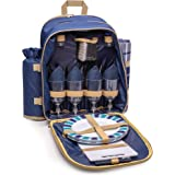 Andrew James 4 Person Picnic Backpack with Fleece Tartan Picnic Blanket and Cooler Compartment | 32 Piece Set including Plates Wine Glasses Cutlery & Accessories | Travel Essential
