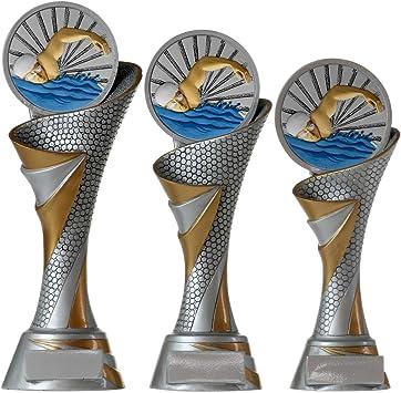 KDS FG Pokal Troph/äe Schwimmen Schwimmsport mit Emblem 70 mm aus Resin Kunstharz massiv 3 Gr/ö/ßen
