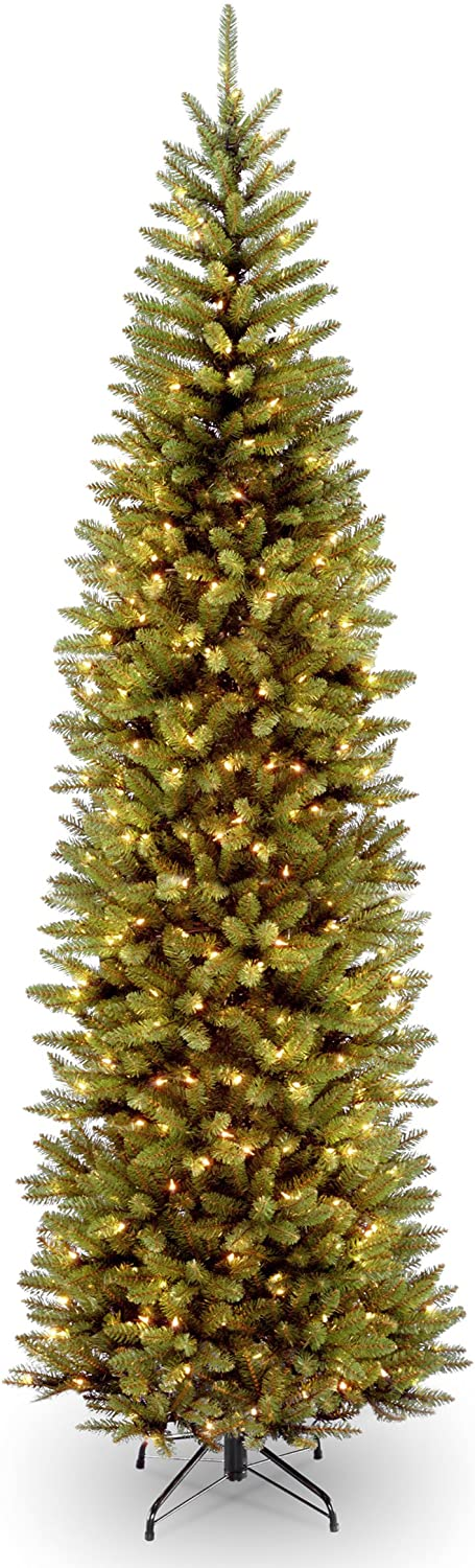 National Tree Company lit Artificial Christmas Tree Includes Pre-strung White Lights and Stand, Kingswood Fir Slim - 9 ft, 9 ft, 9 ft