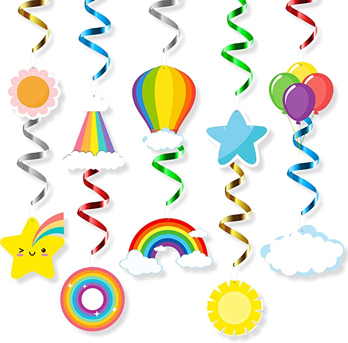 MALLMALL6 Rainbow Hanging Swirls Decorations Birthday Party Supplies Colorful Rainbows Cloud Star Balloon Designed Baby Shower Whirl Streamers Ceiling Spiral Room Decoration Party Favors for Kids