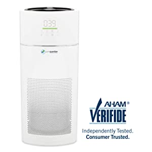 GermGuardian AC9400W Large Room Air Purifier for Home, 360 True HEPA Filter, Smart Sensor Optimizes Air Quality, 402 Sq.Ft, Cleaner Traps Allergens Smoke, Odors, Dust, Germ Guardian Smart Air Purifier