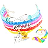 UNICORN GIFTS: 2 PC set: Double Charm Love and Unicorn Infinity Rainbow Bracelets + Unicorn Pin | 11 DESIGNS