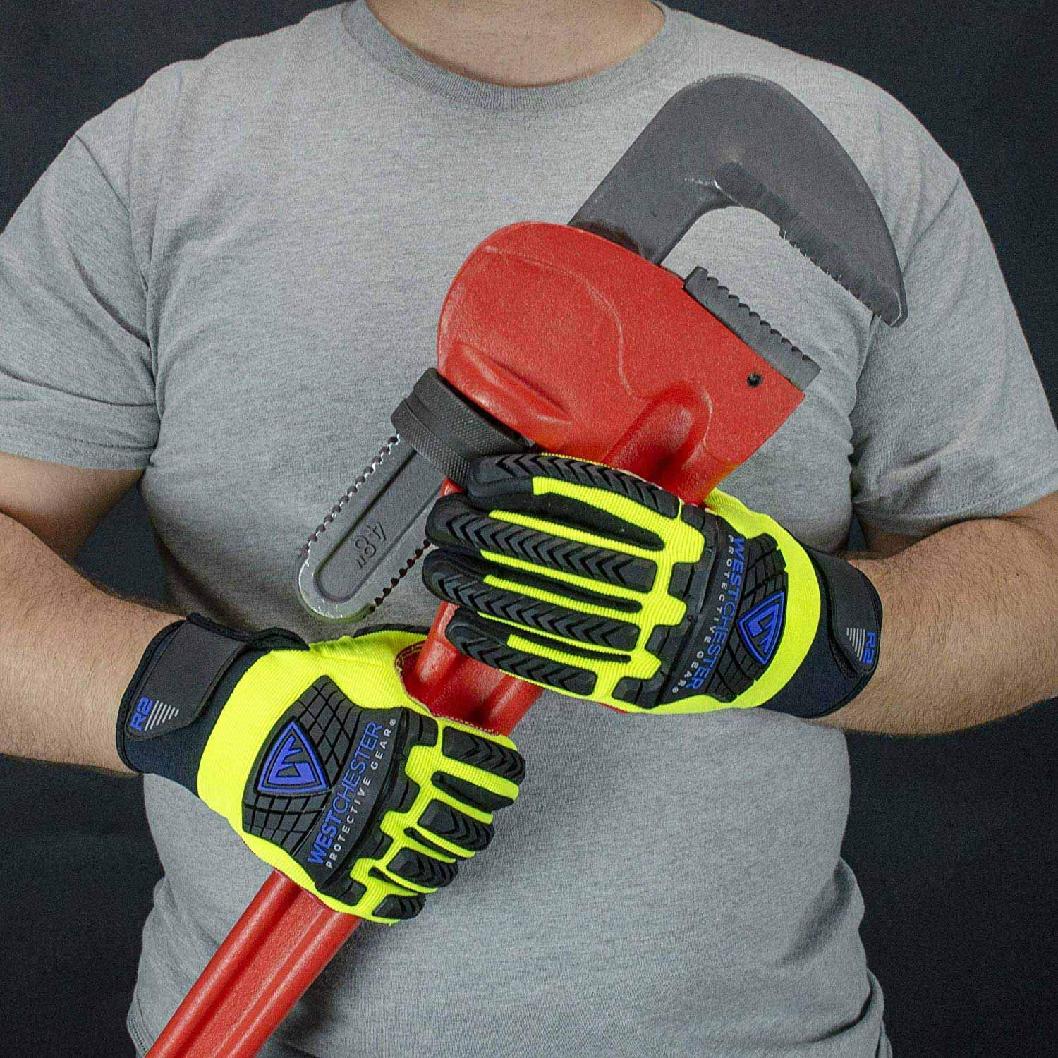 Impact Reducing Safety Gloves, Vibration & Abrasion & Cut Resistant, Ideal for Heavy Duty Safety Work like Mechanic, Garden Construction, Car Repairing Industrial, 1 Pair by KARRISM 6