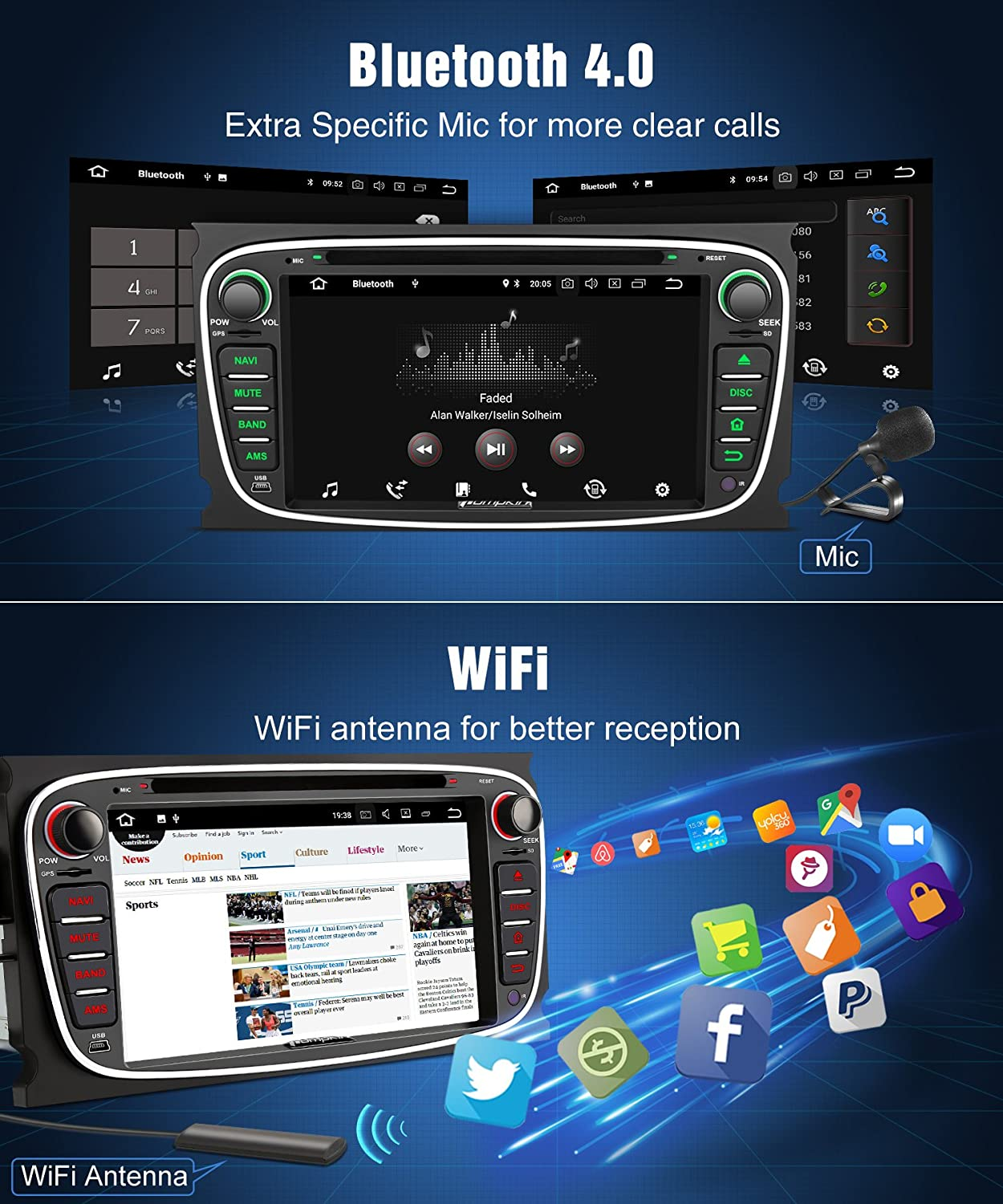 Pumpkin Android 80 Car Stereo For Ford Focus Mondeo Obd2 Bluetooth Wiring Diagram Electronics