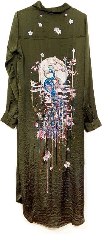 Zara - Camisas - para mujer Verde verde Large: Amazon.es ...