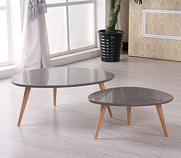 Us Pride Furniture Ct 239 Grey 2 Piece Wood Coffee Table Set