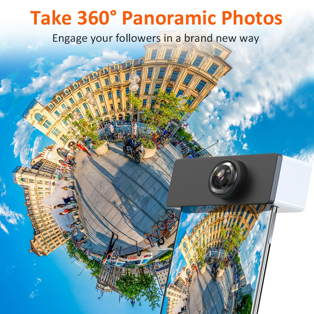 3D Panoramic Lens for iPhone X, Comsoon 360 Degree Phone Lens, Front/Rear 180 Degree Fisheye Lens Design, Make your iPhone a 360° Panoramic Camera, Take Cool Interesting Panoramic Photos (Black) by Comsoon (Image #3)