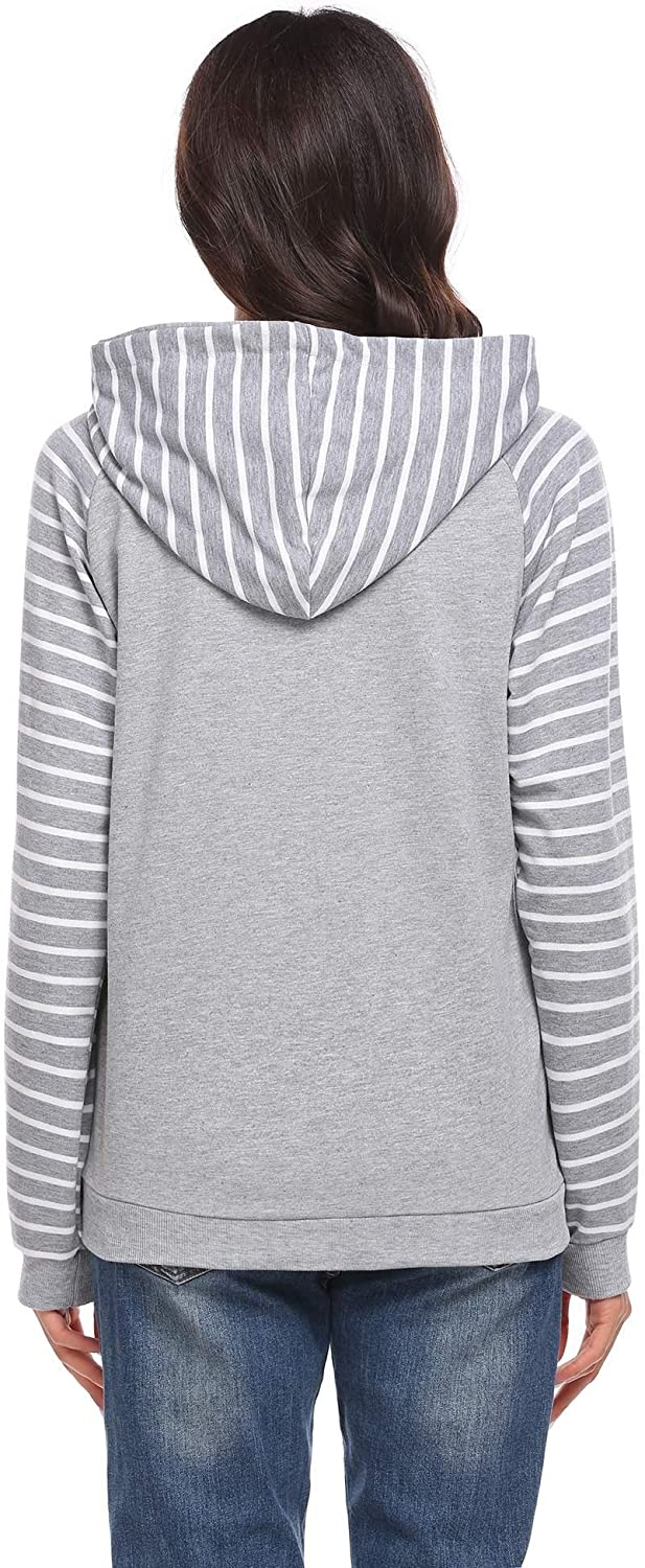 Elever Womens Drawstring Hooded Full Zip Striped Patchwork Casual Hoodie