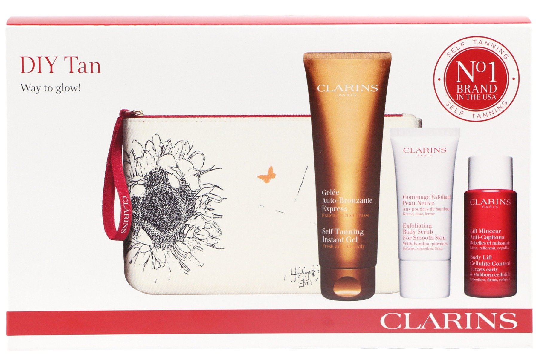 Clarins DIY Tan ''Way to glow'' Self Taning Instant Gel 3 Items Gifts Set Body Lift Cellulite Control & Body Scrub