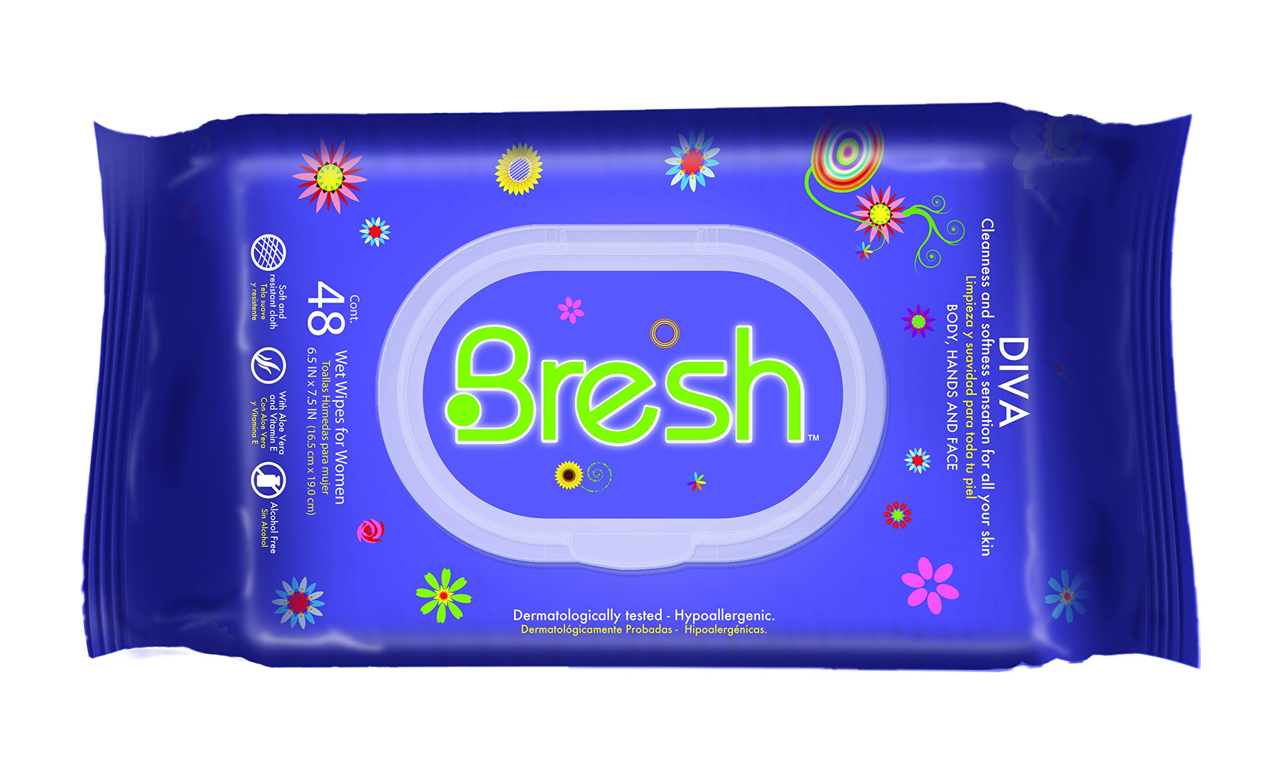 Bresh Wipes for Women - Hypoallergenic and pH Balanced Wet Wipes - Ideal after Sports, Traveling, Car, Purse and Toilet too - Diva Fragrance. Keep your Body, Hands and Face fresh.