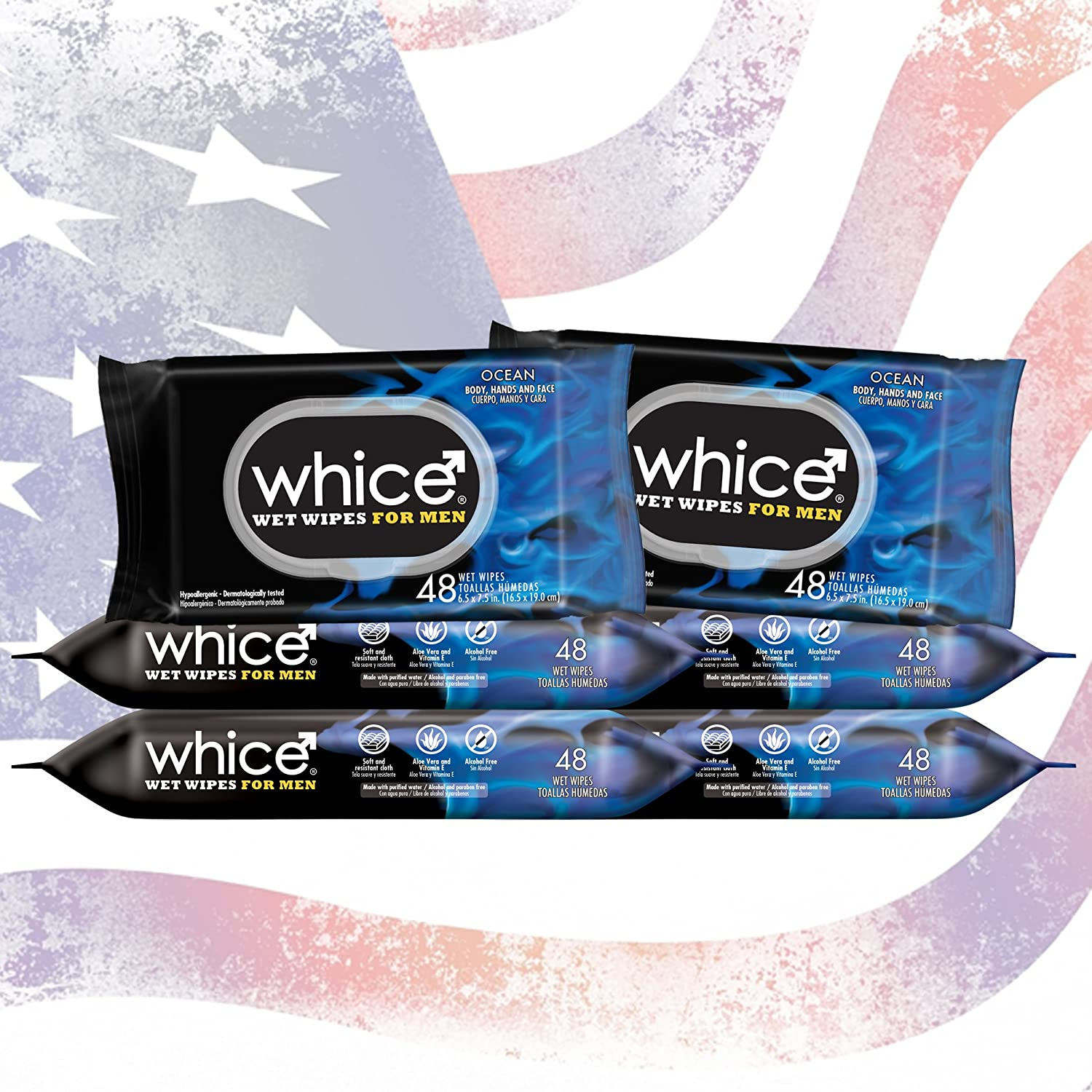Body Wipes for Men by Whice - Hypoallergenic Full Body Wet Wipes - After Sports or Gym, Traveling, Car, Toilet - Ocean Fragrance. Keep your Body, Hands, ...