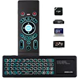 Airmaus Fernbedienung, AMBOLOVE Mini Tastatur kabellos Somatosensorisches Spiel Keyboard 2,4 G wiederaufladbare Air Mouse Combo mit Touchpad und 7 Farb-LED Backlits für Smart TV, HTPC, IPTV, Android TV Box