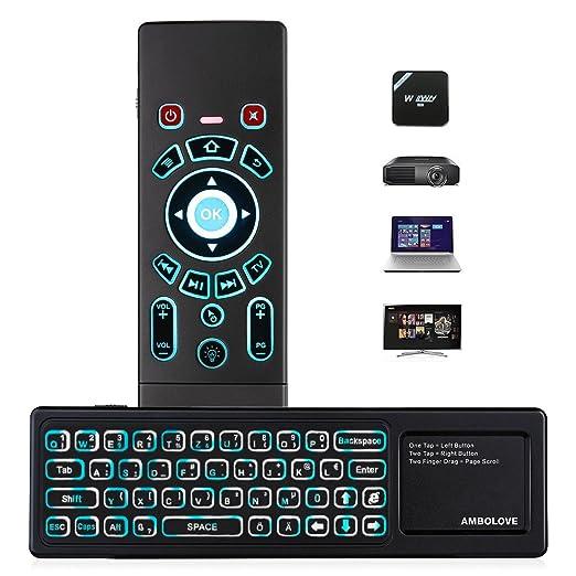 AMBOLOVE Airmaus Fernbedienung, Mini Tastatur kabellos Somatosensorisches Spiel Keyboard 2,4 G wiederaufladbare Air Mouse Com