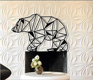 "Metal Wall Art- Geometric Bear -3D Wall Silhouette Metal Wall Decor Home Office Decoration Bedroom Living Room Decor Sculpture (24 W x 16"" H/61x41cm)"