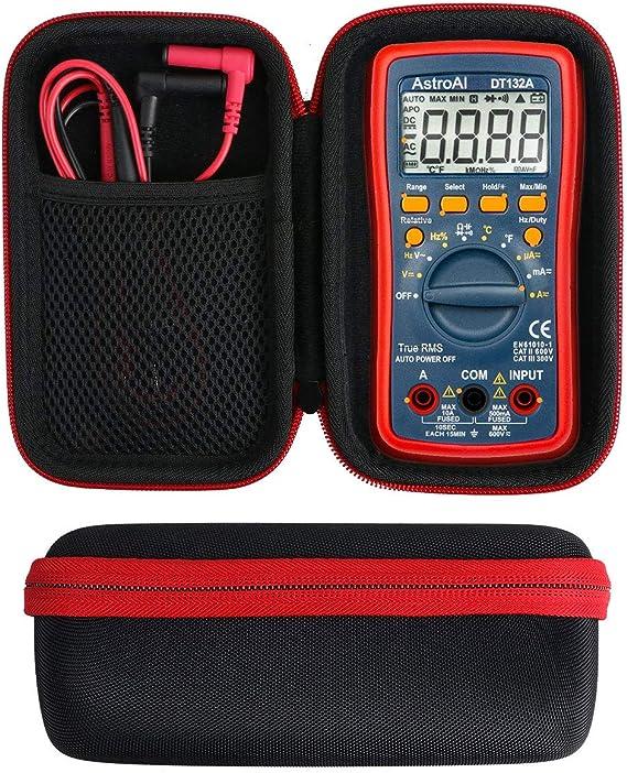 khanka Duro Viaje Estuche Bolso Funda para AstroAI Multímetro Digital Profesional Rango Automático 4000/6000 Cuentas Polímetro Digital True (caja para TRMS 6000, Red zipper): Amazon.es: Bricolaje y herramientas