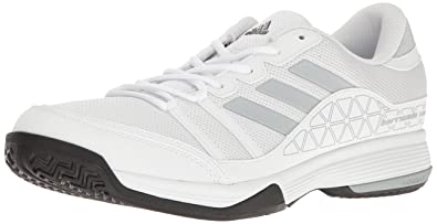 adidas Men's Barricade Court Tennis Shoes, White/Light Onix/Black, (10.5