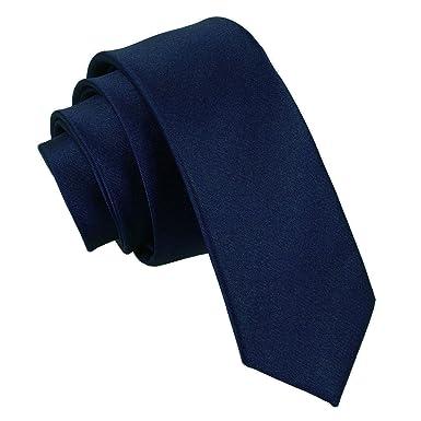 Nueva corbata fina lisa de satén DQT - Azul Marino: Amazon.es ...