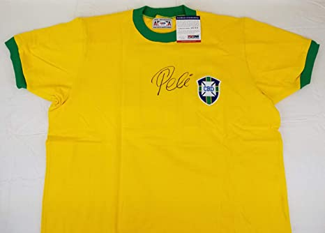 35e7a9e6a01 Image Unavailable. Image not available for. Color: Pele Signed Brazil  Soccer Jersey Autographed PSA/DNA COA ...
