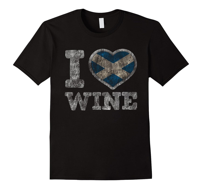 I Love Scottish Wine T-Shirt Scotland Heart Flag-T-Shirt