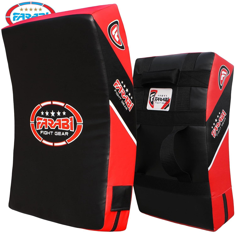 Farabi Kick Escudo Huelga Thai Pads Curvo Grande de Boxeo MMA formación Negro Rojo Sola Unidad Farabi Sorts Kick Shield Black Red