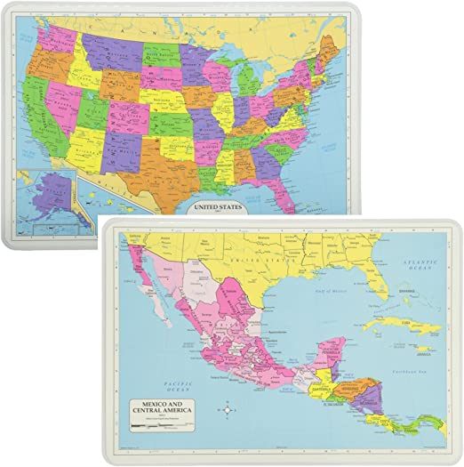 Map Us And Central America Amazon.com: Painless Learning Educational Placemats Sets USA and