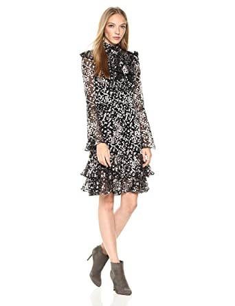c2a57efeb15 ML Monique Lhuillier Women s Long Sleeve Cocktail Dress with Bodice Ruffle  at Amazon Women s Clothing store