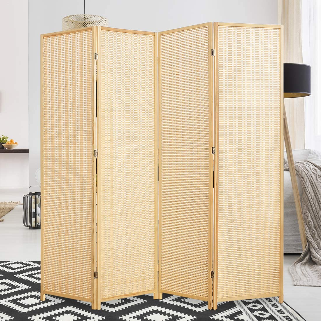 Bamboo Room Dividers Folding Privacy Screen Decorative Separation Wall Separator