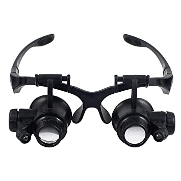 71a288199769 Babimax 10X 15X 20X 25X Double Eye Glasses Loupe Head Wearing Magnifying  Glasses Headset Illuminated Magnifying