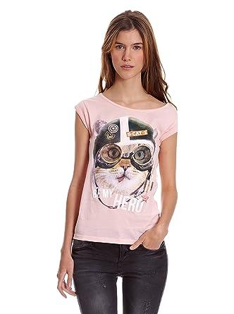Bershka Camiseta Mix CTA M/C Gato Gorra Y Gafas Aviador Strass ...