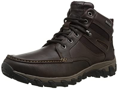 Rockport Men's Cold Springs Plus Mocc Toe Boot - High 7 Eyelets Dark Brown  Tumbled Leather