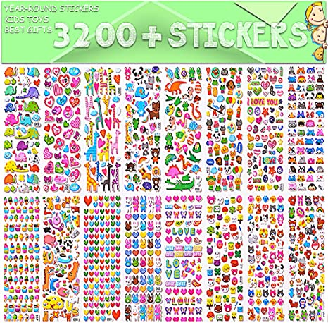 Bullet Journals 20 Different Sheets Stickers for Adult Plants and Tons More Fishes Cakes Stickers for Kids 1300+ 3D Puffy Stickers Scrapbooking Stars Including Animals