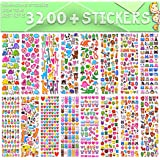 Stickers for Kids, 3D Puffy Stickers, 64 Different Sheets, 3200+ Stickers, Including Animals, Cars, Airplane, Food, Letters,